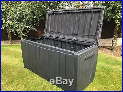 Keter Novel Garden Waterproof Storage Box With Sit On Lid XL Size 340 Ltr