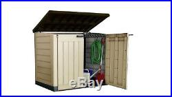 Keter Outdoor Garden Patio Storage Box Container Chest, Large Mini Shed Unit New