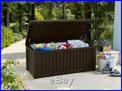 Keter Rockwood Huge Plastic Garden Storage Deck Box 570 L Capacity XL Outdoor