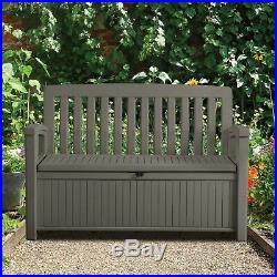 Keter Wood Bench 265L Garden Storage Box Seat Chair in Brown Weather Resistance