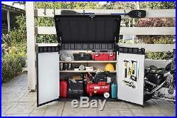 Keter XL Large Horizontal Shed Garden Outdoor Storage Box Bike Grey/Black