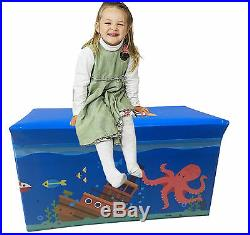 Kids Childrens Large Storage Toy Box Boys Girls Books Chest Clothes Seat Stool