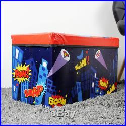 Kids Large Folding Storage Toy Super Man Hero Box Books Chest Cloths Seat Stool