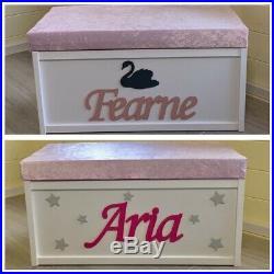 LARGE Personalised Wooden Toy Box Storage Bespoke Chest Nursery Boy/Girl custom