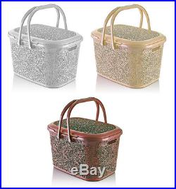 Large 28 Litre LACE Plastic Storage Box with Lid Carry Handle Basket Container