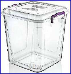 Large 40 Litre Clear Plastic Box Kitchen Food Flour Storage Container Tub Boxes