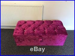Large 40'' Purple Crushed Velvet Ottoman, Toys Storage, Blanket Box, Footstool