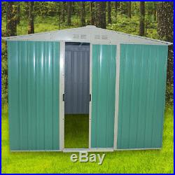 Large 8 X 10 Metal Garden Shed Outdoor Storage Tool Box Apex Roof Free Base