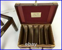 Large Antique Oak & Leather Cartridge Case Box Storage Cartridge Magazine