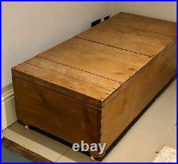 Large Antique Pine Blanket Box Chest Coffee Table Storage Ottoman