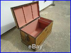 Large Antique Pine Trunk Coffee Table Rope Handles Toy Storage Chest Blanket Box