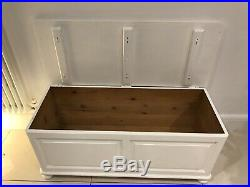 Large Antique Pine White Painted Wooden Ottoman Storage Box /Chest