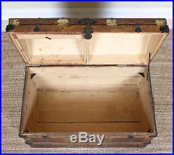 Large Antique Victorian Trunk Brass Bound Leather Wood Cabin Storage Box