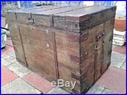 Large Antique Victorian Wooden Chest / Trunk Storage Box Coffee Table