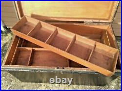 Large Antique Vintage Black Wood Carpenter Storage Box Trunk Chest & Inner Trays