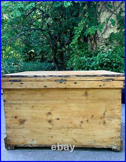 Large Antique / Vintage Pine Blanket / Tool Storage Box / Chest / Trunk