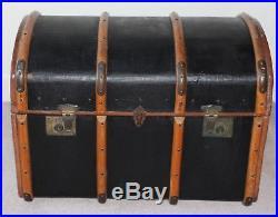 Large Antique Vintage Steamer Trunk / Chest Storage Box Ottoman