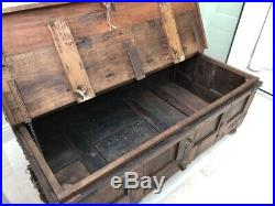 Large Antique Wooden Blanket Box Chest Trunk Storage Toy coffee table
