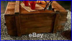 Large Big Storage Chest Coffee Table Cottage Wooden Box Trunk Vintage Tin Sign