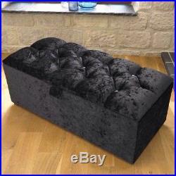 Large Black Crushed Velvet Ottoman, Toys Storage, Blanket Box, Footstool