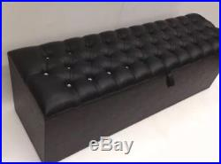 Large Black Leather Ottoman Chesterfield Storage/toy Box 60 X 18 Stunning