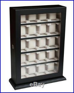 Large Black Matt 20 Wrist Watch Storage Cabinet Box Display Wooden Case