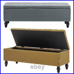 Large Chesterfield Storage Ottoman Bench Box Widnow Seat Stool Bedroom Footstool