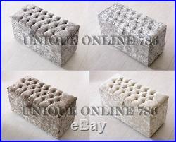 Large Crushed Velvet Diamante Ottoman Toy Storage Blanket Box Various Colours