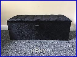 Large Cubbed Black Crushed Velvet Ottoman, Toys Storage, Footstool, Ottoman Box