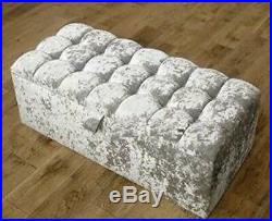 Large Cubbed Silver Crushed Velvet Ottoman, Toys Storage, Footstool, Ottoman Box