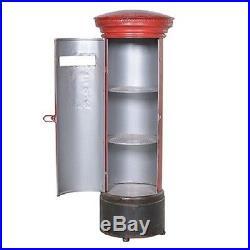 Large Display Cabinet Storage Unit Furniture Red Post Box Bookcase Metal Shelves