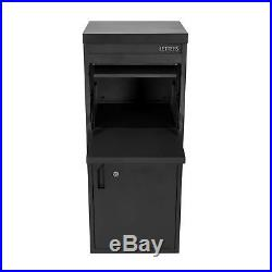 Large Front & Rear Access Black Lockable Home Storage Letter and Parcel Box