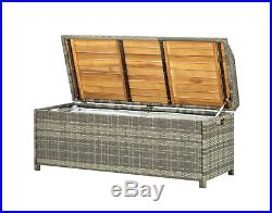 Large Garden PE Rattan Storage Bench Outdoor Sturdy Seater Outdoor Chest Box NEW