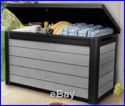 Large Garden Storage Box 380L Grey Resin Bench Seat Tool Chest Outdoor Furniture
