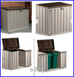 Large Garden Storage Box Plastic Outdoor Wheelie Bin Bike Shed Tool Store 1200L