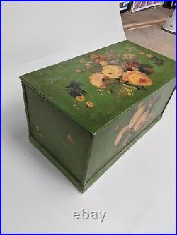 Large Green Botanical Decoupage Trunk Storage Box Vintage Victorian Style