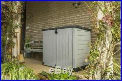 Large Grey Durable Plastic Storage Unit Box Garden Outdoor Shed For Wheelie Bins