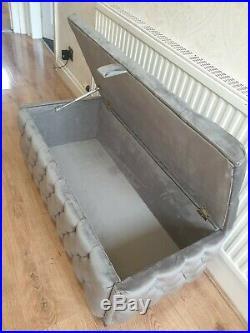 Large Grey Plush Soft Velvet fully upholstered storage Box Ottoman