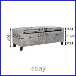 Large Grey Velvet Ottoman Storage Bedding Box Button Footstool Wooden Legs Home