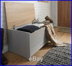 Large Grey Wooden Storage Chest Bedding Blanket Box Toys Tools Trunk Bench