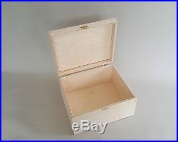Large HandMade Plain Wood Box Wooden Chest Storage Led Tool Keeping Boxes