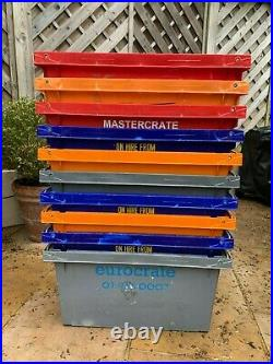 Large Heavy Duty Plastic Bale Arm Stacking Storage Boxes Crates Containers x 10