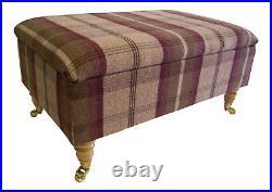 Large Long Storage Box/footstool Brass Castor Wooden Legs Balmoral Heather