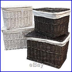 Large Medium Wicker Storage Trunk LID Chest Hamper Basket Blanket Box Lining