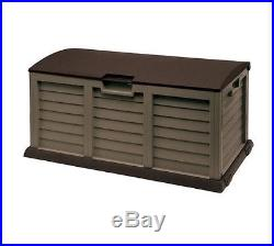 Large Mocha Garden Storage Box Outdoor Shed Patio Garage Tools Container Yard