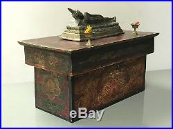 Large Nepalese Buddhist Motif Storage Box. Chhepu The Protector. Nepal. Tibet