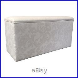 Large Ottoman Box Storage Box Blanket Bedding Box Cream Damask Fabric NEW  sc 1 st  Storage Boxes Large & Large Ottoman Box Storage Box Blanket Bedding Box Cream Damask ...