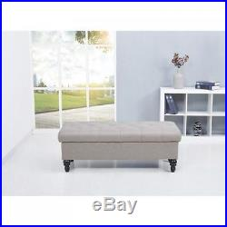 Large Ottoman Storage Seat Bench Beige Upholstered Footstool Box Hall Bedroom