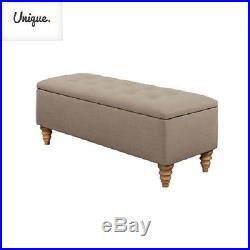 Large Ottoman Storage Seat Upholstered Cream Bench Hallway Pouffe Foot Stool Box