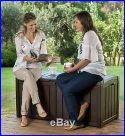 Large Outdoor Storage Box Plastic Garden Furniture Brown Keter Wheels Lockable